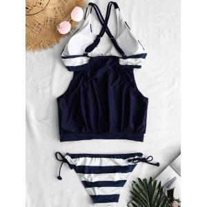 Cross Back Stripe Panel Cami Tankini Set -