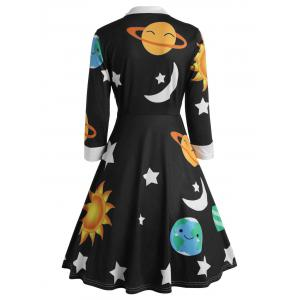 Vintage Flare Sun and Moon Print Dress -