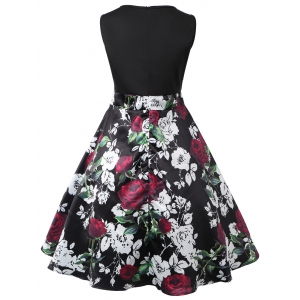 Valentines Day Roses Print Sleeveless Flare Dress -