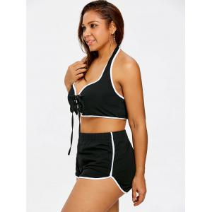 Plus Size Lace Up Hater Top and Shorts -