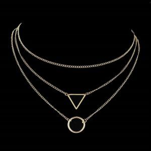 Layered Round Triangle Metal Collarbone Necklace Set -