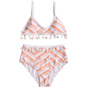 Tassel Zigzag High Rise Bikini Set -