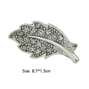 Faux Diamond Leaf Alloy Brooch -