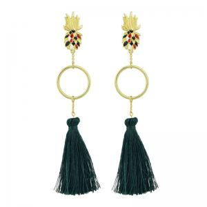 Tassel Circle Embellished Pineapple Stud Drop Earrings -