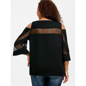 Plus Size Mesh Insert Cold Shoulder Top -