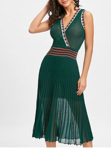 Hot Plunging Neckl Midi Pleated Dress