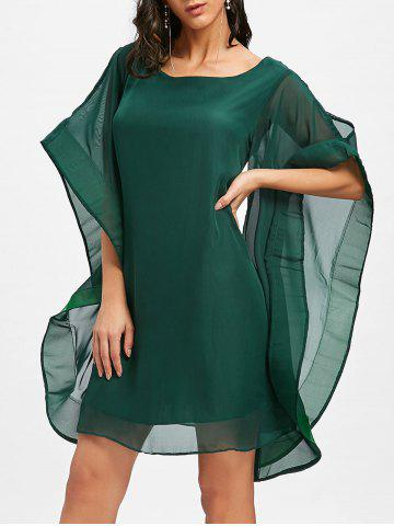 Cheap Bell Sleeve Mini Chiffon Shift Dress