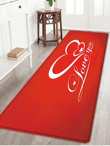 Valentine's Day Love You Pattern Water Absorption Area Rug - RED - W24 INCH * L71 INCH