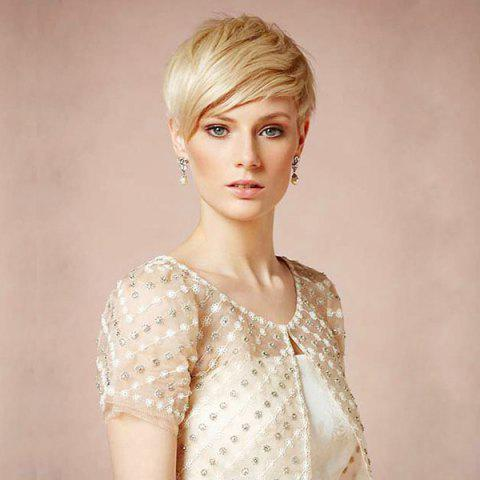 Best Short Side Bang Colormix Layered Straight Human Hair Wig