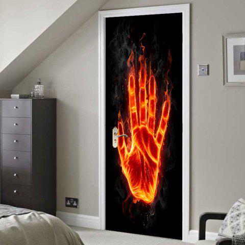 Latest Flame Palm Printed Door Art Stickers