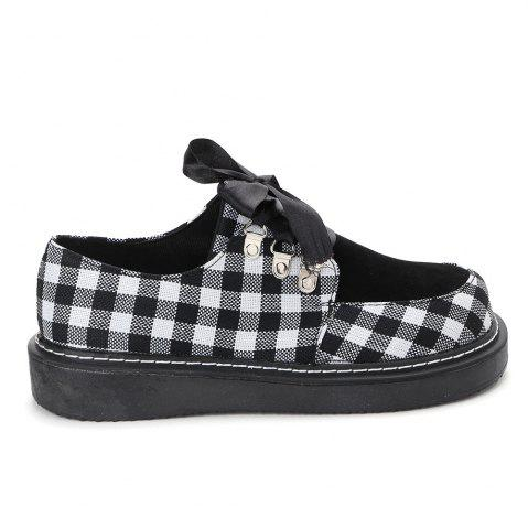 Outfit Color Block Plaid Casual Shoes