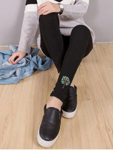 Hot Tree Embroidery Leggings