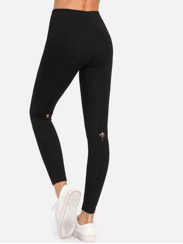 Shops Flamingo Embroidery Leggings