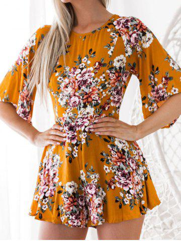 Trendy Back Cut Out Floral Romper