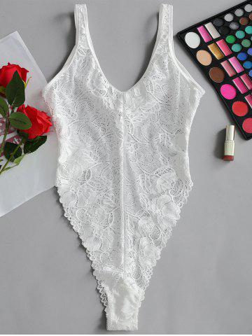Trendy Valentine Lace High Cut Lingerie  Bodysuit