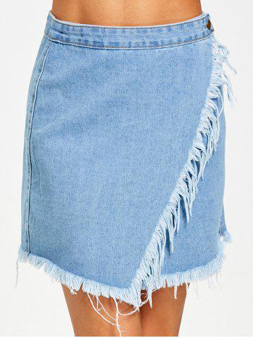 Trendy Button Fly Frayed Hem Denim Skirt
