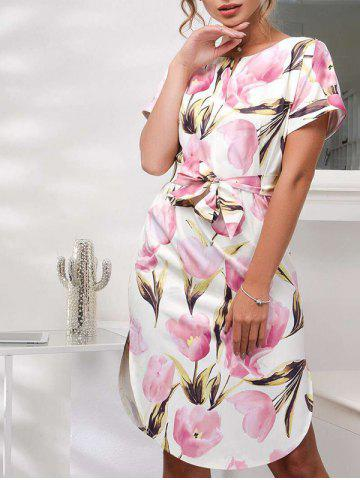Online Floral Belted Printed Dress