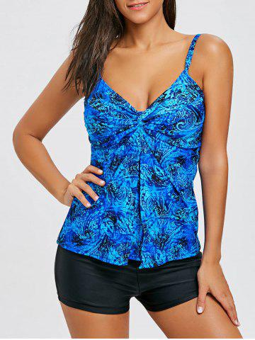 Latest Printed Cami Strap Flyaway Tankini Set