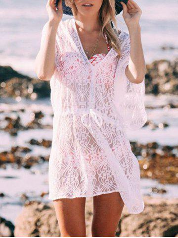 New V Neck See thru Lace Cover Up Dress