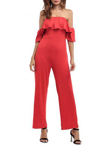 Outfit Ruffled Off The Shoulder Wide Leg Jumpsuit