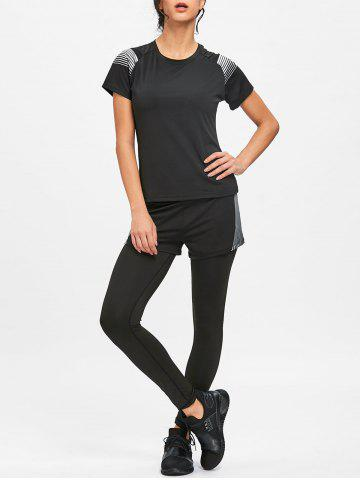 Sale Striped T-shirt Bra Shorts and Leggings Sports Suit