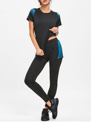 New Striped T-shirt Bra Shorts and Leggings Sports Suit