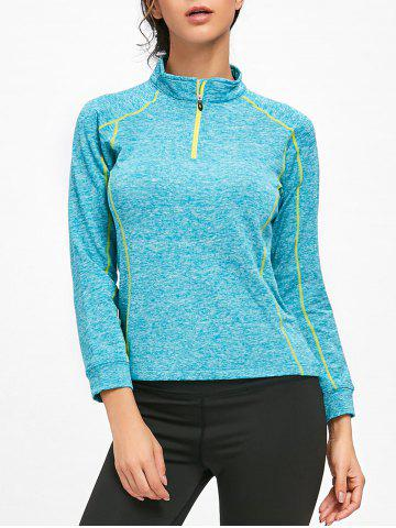 Sports Contrast  Half Zip High Neck T-shirt