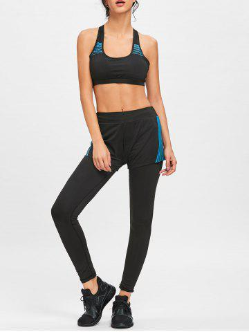 Outfit Striped Bra Shorts with Legging Sports Set