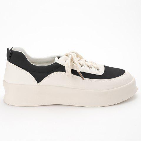 Cheap Round Toe Suede Panel Platform Sneakers