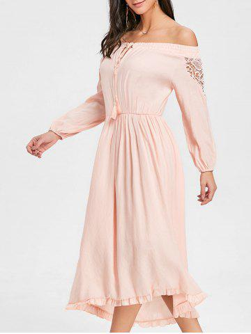 Off The Shoulder Flounce haute basse robe maxi