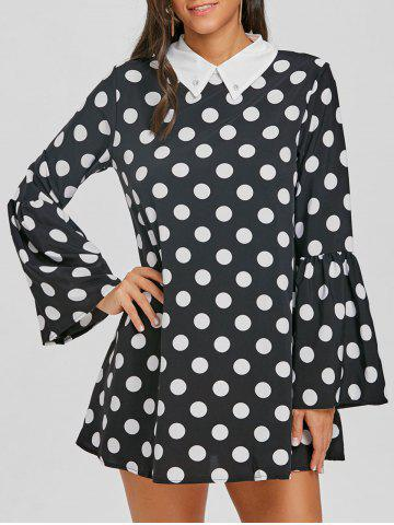 Trendy Flat Collar Bell Sleeve Polka Dot Mini Dress
