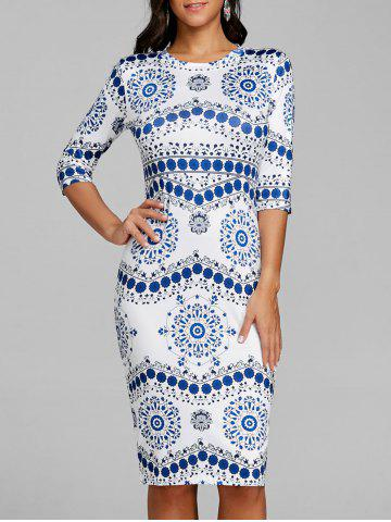 New Blue and White Porcelain Bodycon Dress