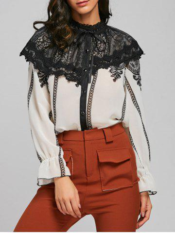 Outfits Lace Panel Chiffon Blouse