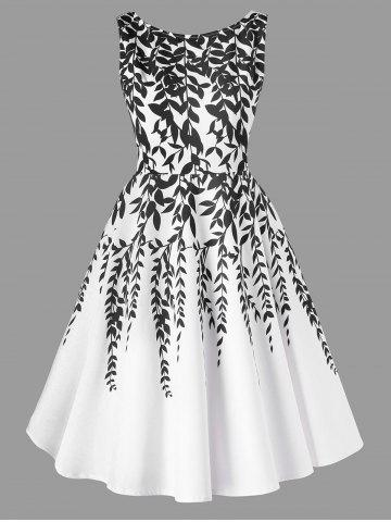 Outfit Salix Leaf Print Sleeveless Flare Dress