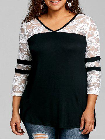 New Plus Size Lace Panel V Neck T-shirt