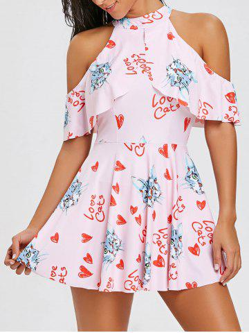 Online Cold Shoulder Cat Hearts Print Swimdress