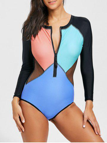 Shops Color Block Half Zip Long Sleeve Swimsuit