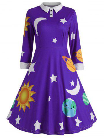 Store Vintage Flare Sun and Moon Print Dress