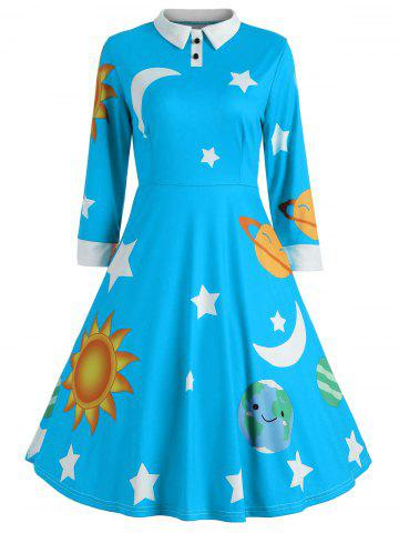 Fashion Vintage Flare Sun and Moon Print Dress