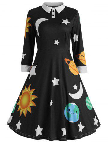 Trendy Vintage Flare Sun and Moon Print Dress
