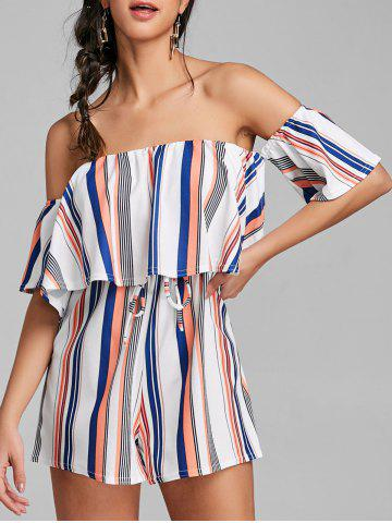 Discount Striped High Waist Off Shoulder Romper