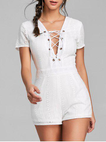 Trendy Backless Plunging Neck Lace Up Romper
