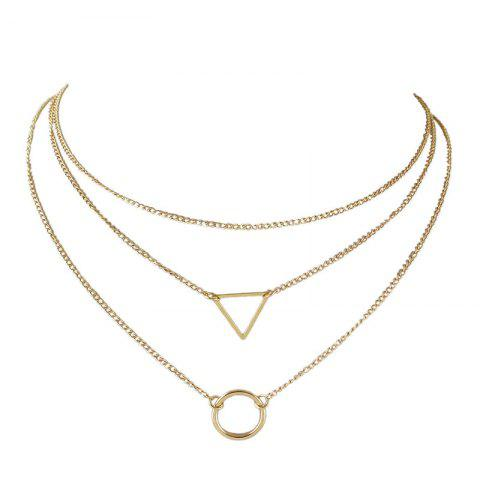 New Layered Round Triangle Metal Collarbone Necklace Set
