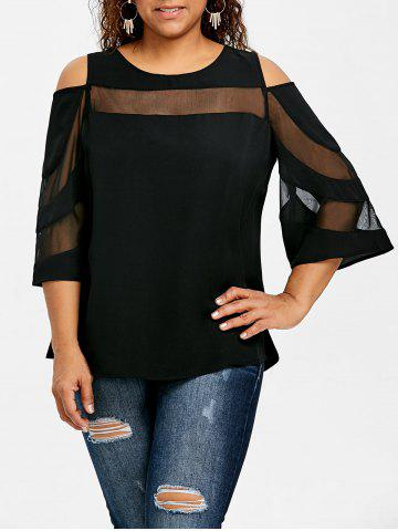 Sale Plus Size Mesh Insert Cold Shoulder Top