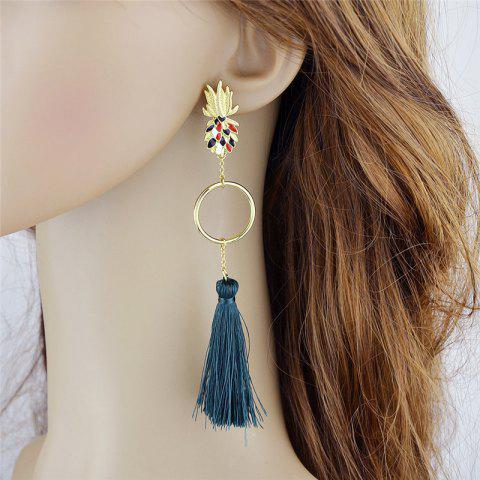 Unique Tassel Circle Embellished Pineapple Stud Drop Earrings