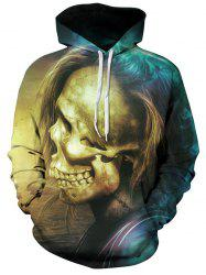 Skull with Hair Pattern Pullover Hoodie -