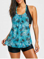 Mesh Print Halter Backless Tankini Set -