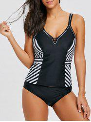 Cami Strap Stripe Panel Tankini Set -