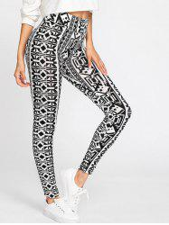 Color Block Geometric Print Leggings -