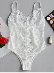 Valentine Scalloped  Sheer Lace Bodysuit -